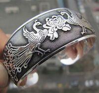Tibetan Tibet Silber chinesische Phoenix Totem Armreif Manschette Armband HQ