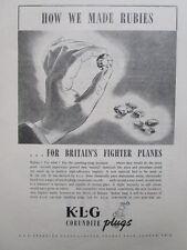 10/1945 PUB KLG SPARKING PLUGS CORUNDITES PLUGS BOUGIES AVIATION RUBIS RUBIES AD