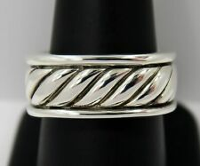 DAVID YURMAN - Mens 9.3 mm Wide Cable Squared Sterling Silver Band Ring ~ Size 9