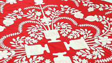 Red & White Floral & Baskets Hand Applique QUILT TOP incredible small details