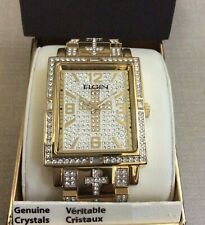 Brand New Elgin Men's Gold Oversize Watch Genuine Crystals Rectangle Dial New!