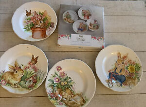Pier 1 Hop Town Bunnies Set Of 4 Salad Plates NEW IN BOX