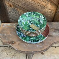Tommy Bahama 8 Pc Melamine Palm Leaves Wood Grain 4 Dinner Plates + 4 Bowls New