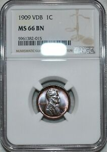 NGC MS-66 BN 1909-P VDB Lincoln Cent, Attractively toned specimen.