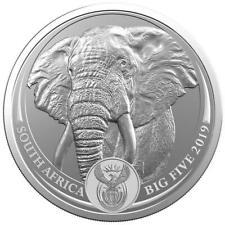 Moneda de plata - 1 onza Big Five Elephant - Sudafrica - 2019 - encapsulada y ce