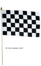 "12x18 Wholesale Lot 3 Checkered Black White  Stick Flag 30"" wood staff"