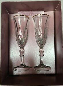 Hortense b. Hewitt Gold Rimmed Sparkling Champagne Toasting Flutes Set Of 2