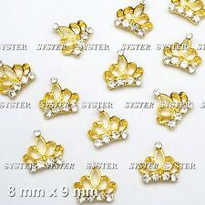 10 Pcs 3D DIY Nail Art Gold Crown Alloy Jewelry Rhinestone Decoration #SJ-332