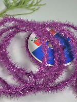 Tinsel Garland Trim wired Ribbon Light Pastel Metallic Pink 4 Yards