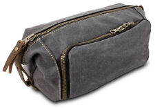 0c4920c830fc Large Canvas   Leather Toiletry Travel Bag Kit with YKK Zipper Mens Grey  Colour