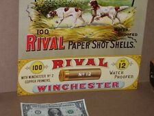 WINCHESTER - Shows Pair Hunting Dogs RIVAL Paper Shot Shells OLD SIGN -Dated'93