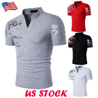Fashion Mens Slim Fit Stylish Shirt Short Sleeve Casual T-shirts Tee Tops Summer