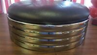 "1950'S CLASSIC DINER STOOL REPLACEMENT SEAT TOP 14"" DIA, 5"" THICK  BLACK ( ONE )"