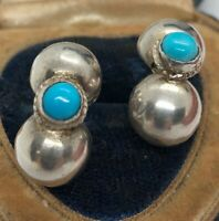 Vintage Sterling Silver Earrings 925 Mexico Modernist Turquoise Screw Back