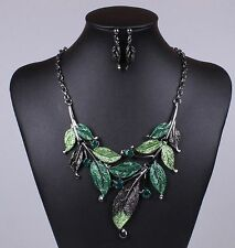 Fashion Vintage Chain Pendant Women Crystal Choker Bib Necklace Set Ear Jewelry