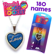Personalised Name Mood Heart Shaped Silver Locket Necklace Names Initial Pendant