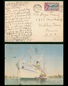 Mayfairstamps Bahamas 1955 Nassau Ship to Pennsylvania Picture Postcard wwp81367