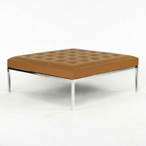2020 Florence Knoll Relaxed Small Square Bench in Caramel / Cognac Leather