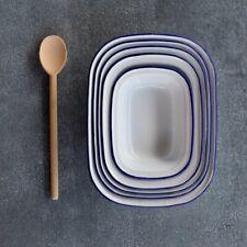 Falcon enamel pie set, five-piece, blue rim