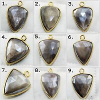 Natural Gray Fire Moonstone Gold Plated Earring Necklace Connectors Jewelry
