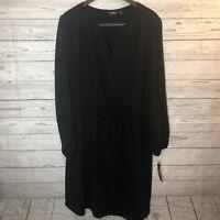 Smocked Long Sleeve Cold Shoulder Black Dress 18W Plus Size NWT $60