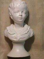Napco vintage boy statue white ceramic 8 1/2 inches tall from Japan
