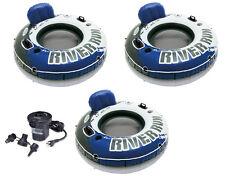 INTEX River Run I Inflatable Floating Tubes (Set of 3) & Quick Fill Air Pump