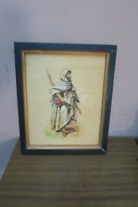 "Vintage Wood Burning Painting Arabic Man Picture Panel Plaque 10"" x 13"" Framed"