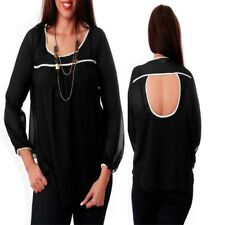 T29 Womens Black Plus Size 22/24 Long Sleeves Chiffon Work Formal Blouse Tops