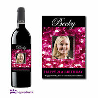 PERSONALISED PHOTO WINE, CHAMPAGNE LABEL BIRTHDAY+CHRISTMAS 18th 21st 30th 40th