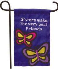 MINI GARDEN FLAG FOR FLOWER POT - SISTERS MAKE THE VERY BEST FRIENDS