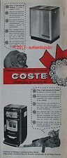 PUBLICITE COSTE POELE A CHARBON ET A MAZOUT CHAT ANIMAL DE 1962 FRENCH AD CAT