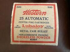Vintage Western 25 Automatic Cartridges Lubaloy Metal Case Bullet 500 Box