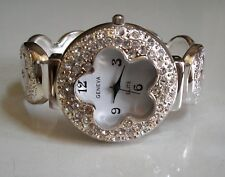 Flower Silver finish Rhinestones bangle cuff fashion women's dressy watch