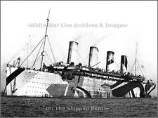 Photo: Grand: Troopship Olympic At Anchor, Dazzle Camouflage, Mudros, 1916
