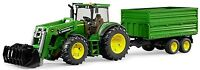Bruder Toys John Deere Tractor 7930 with Frontloader & Tipping Trailer 09810 NEW
