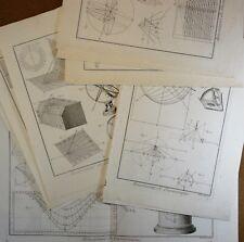Gravure Antique Print XVIIIe Amusemens de Gnomonique Cadran Solaire 9 pl. In-4°