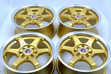 15 gold Wheels Miata Aveo Integra Lancer Galant Cube iQ Civic Rims 4x100 4x114.3