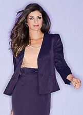 Waist Length Fitted Purple Semi Sheen Evening Jacket with Bow Detail Size 16 NEW