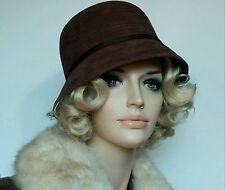 Vintage brown cloche hat pristine faux suede Miss Biener