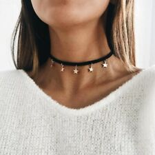 UK BOHO STAR CHARM CHOKER NECKLACE Gold Fashion Festival Jewellery Punk 90s