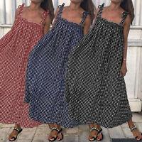 UK Womens Holiday Sleeveless Ladies Maxi Long Summer Plaid Beach Dress Plus Size