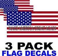 3 PACK - MAKE AMERICA GREAT AGAIN- American Flag USA Decal - PATRIOTIC STICKERS