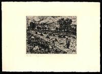 Gerhard Schrader: Landschaft mit Ziegen. [1954]. Signierte Original-Radierung.
