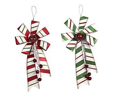 Metal Christmas Holiday Bow with Bell Door Wall Hanging Holiday Decor Set of 2