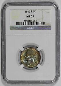 1946 S 5c Jefferson Nickel NGC MS65 Colorful Toning