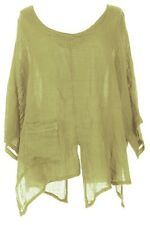 CUT SLASH LAGENLOOK QUIRKY LINEN POCKET TOP LAYERING BOHO ONE SIZE 12-22 - LIME