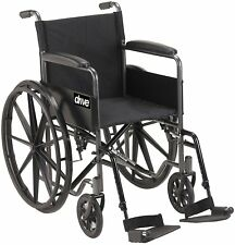 Drive Medical Silver Sport 1 Wheelchair with Full Arms & Swing away Footrest New
