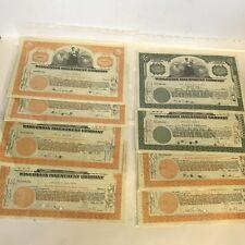 8 X Vintage 1930s Wisconsin empresa de inversiones certificados de acciones (cancelado)