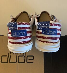 Hey Dude Wally Off White Patriotic - Size 11 - New In Box